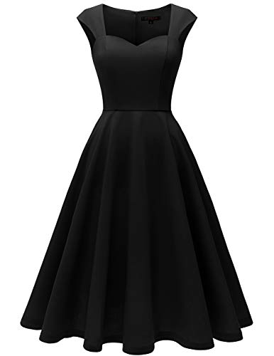 (Meetjen Women's Classic Casual Dress Sweetheart Midi Dress Cocktail Party Dress Black M)