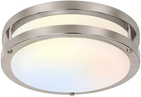 10 inch Flush Mount LED Ceiling Light Fixture, 17W [120W Equiv.] 1100lm, 3000K/4000K/5000K Adjustable Ceiling Lights, Brushed Nickel Saturn Dimmable Lighting for Hallway Bathroom or Kitchen