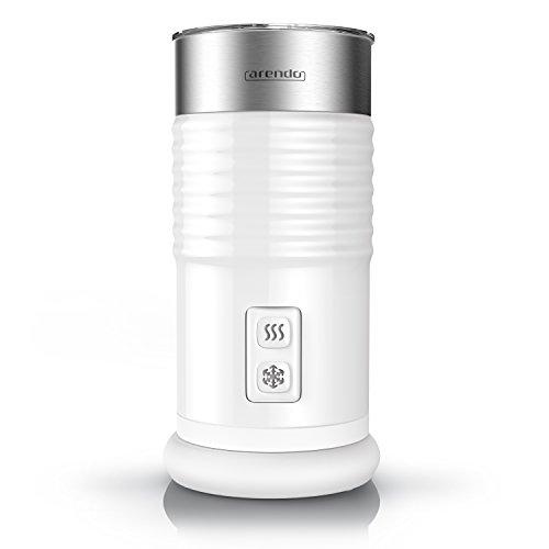 Arendo milkloud Milchaufschäumer automatisch | milk frother | rostfreies Doppelwanddesign | 2-Tasten für Warm- und Kaltaufschäumen | Soft-Touch-Oberfläche | Überhitzungsschutz durch automatische Abschaltfunktion | antihaftbeschichtet | 360° Basisstation | weiß / silber (gebürsteter Edelstahl)