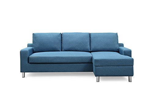 Container Furniture Direct S0113-R Amelie Linen Upholstered Contemporary Modern Right-Sided Sectional Sofa with Bed, 83.9