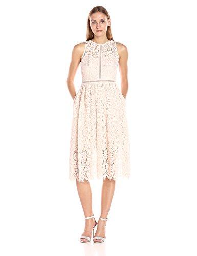 Adrianna Papell Women's Tea Length Halter Lace Party Dress, Blush, 10