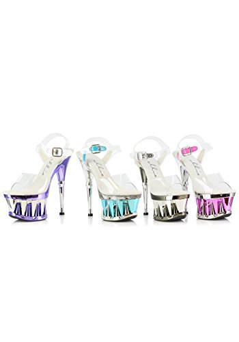 ELLIE Shoes Sexy High Heel Ankle Strap Platform Clear Sandal 629-CLARITY Silver-10