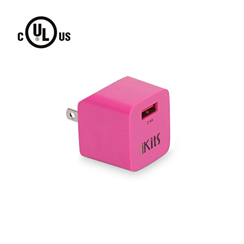 USB Wall Charger, iKits (UL Certified) 5V 2.4A Single Port USB Travel Charger Ultra Compact Foldable Plug Adapter Compatible with Samsung,iPhone XR,XS,8,7,Plus,iPad pro/Air,iPad Mini,iPod & More Rosy