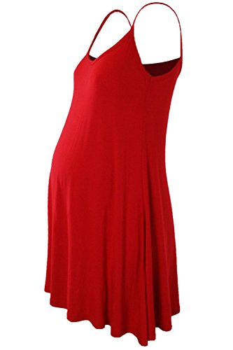 Janisramone - Vestido - Básico - Sin mangas - para mujer Rosso