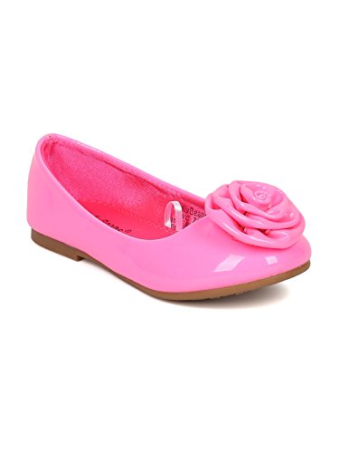 Alrisco Jelly Beans Neon Patent Leatherette Rose Embellished Ballerina Flat HA80 - Neon Pink Patent (Size: Little Kid 2)