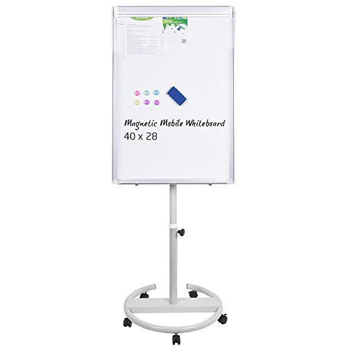 Magnetic Mobile Whiteboard - 40x28 inches Whiteboard on Wheels with Stand, Height Adjustable Dry Erase Easel Board Flipchart Easel Whiteboard with Marker Tray, 1 Eraser, 3 Markers, 6 Magnets -