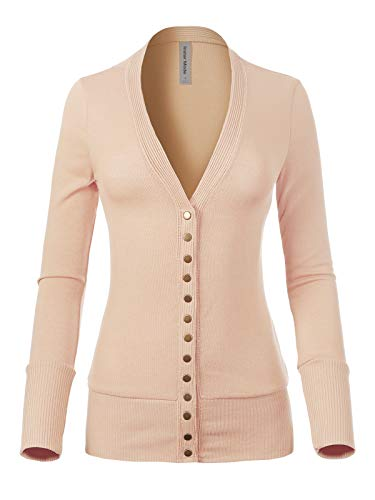 - Instar Mode Women's Soft Basic V-Neck Long Sleeve Snap Button Down Knit Cardigan Sand M