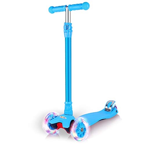 GOOGO Kick Scooter Kids & Toddlers Girls Boys, 4 Adjustable Height, Extra-Wide Deck, Lean to Steer PU Light Up Wheels Children from 3 to 14 Year Old,Blue