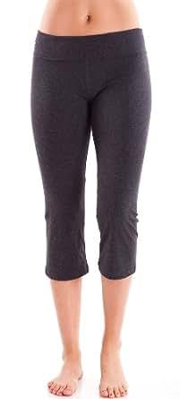 Ladies Charcoal Capri Yoga Pants 3/4 Length