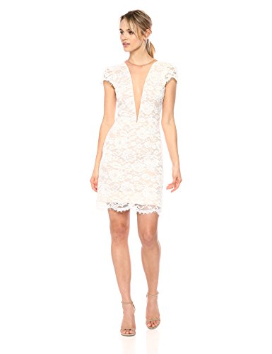 Nude Mini Sleeve Dress Cecilia Women's Dress Ivory Lace Plunging Population the Cap AxqwxTSPC
