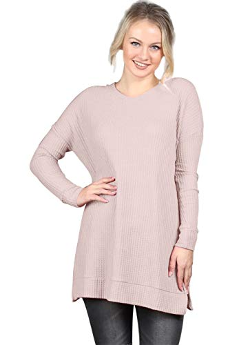 Cable-Knit Womens-Tops Crew-Neck Long Sleeve Loose-Pullovers Casual-Kintwears Pink S