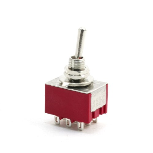 Price comparison product image uxcell AC250V 2A AC125V 5A 9 Pin 2 Position ON/ON 3PDT Toggle Switch