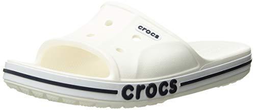 Crocs Men's and Women's Bayaband Slide Sandal, White/Navy, 7 US Women / 5 US Men