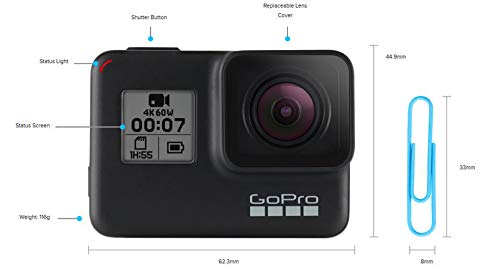 GoPro HERO7 Black - Waterproof Digital Action Camera with Touch Screen 4K HD Video 12MP Photos Live StreamingStabilization