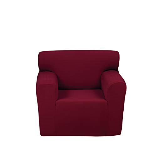 Chiara Rose Stretch 1 Piece Armchair Slipcover 1 Seat Couch Cover with Arm Spandex Furniture Protector Burgundy