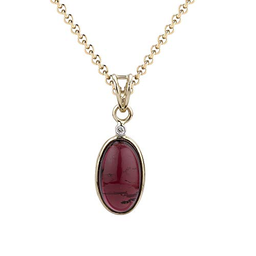 Euforia Jewels IGI Certified 14K Yellow Gold Natural Diamond (SI/F-G) Round Full Cut & Tourmaline Oval Cabochon Pendant With Free 925 Sterling Silver Chain Friendship Day