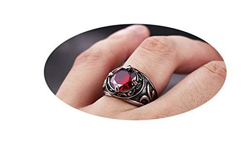 Bishilin Stainless Steel Ring Punk 16.5MM Pattern Stone Vintage Ring Wedding Red Men Ring Hip Hop Size 13