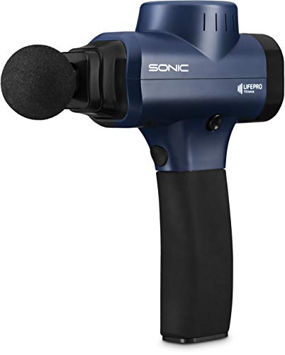 - Sonic Handheld Percussion Massage Gun - Deep Tissue Massager for Sore Muscle and Stiffness - Quiet, 5 Speed High-Intensity Vibration - Quick Rechargeable Device - Includes 5 Massage Heads