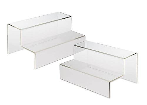 Source One LLC Clear Acrylic Two Tier Wide Risers, 2-Pack (2Tier-Wide-Riser-2P)