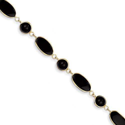 (14k Yellow Gold 8.25in Black Onyx Bracelet 8.25 Inch Gemstone Fine Jewelry For Women Gift Set)