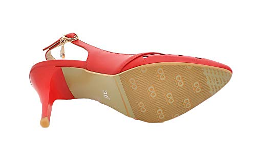 GMBLB014677 Rouge Talon d'orteil Couleur Femme Boucle AgooLar Unie Sandales Haut à Fermeture wWFvIxPpqx
