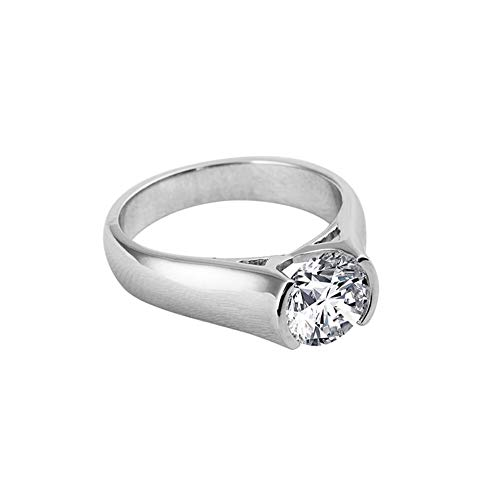 AINUOSHI 2 Carat Solitaire Round Brilliant Cubic Zirconia CZ Sterling Silver 925 Wedding Engagement Ring (6)