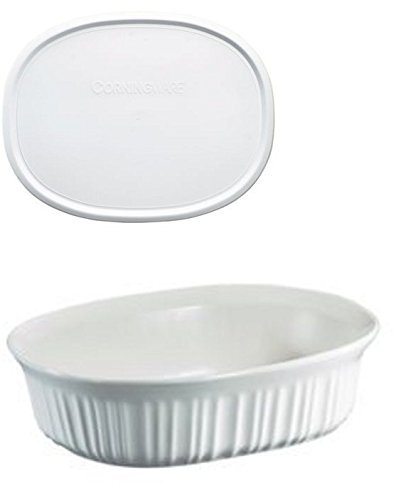 (CorningWare French White 1.5 Quart Oval Casserole Bundle: 1.5 Oval with Plastic Lid)