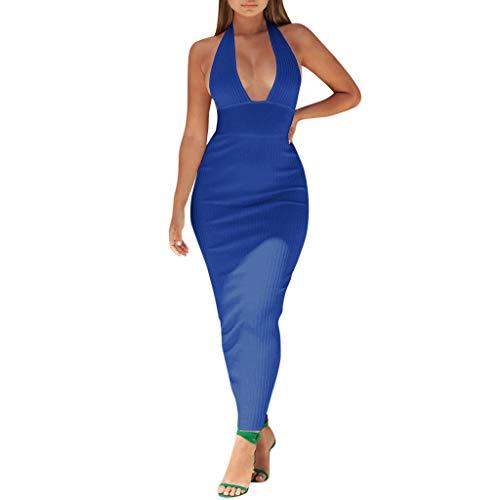 Vestiti Blu Banchetto Donna Festa Senza Da Vestito Sera Partito Elegante Sexy Maniche Cerimonia Backless Kword Abito 0wvmN8n