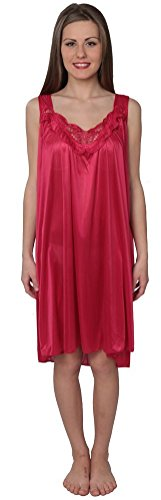 Beverly Rock Women's Tricot Sleeveless Long Nightgown BX96 Red 3X]()