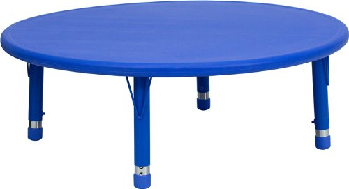 (Flash Furniture 45'' Round Blue Plastic Height Adjustable Activity Table )