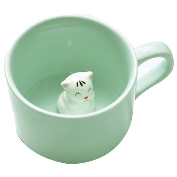 ceramic cup - SODIAL(R)Creative small ceramic milk mug with animals cute cartoon three-dimensional coffee cup Heat-resistant Celadon cup nice gift£¨Kitten£