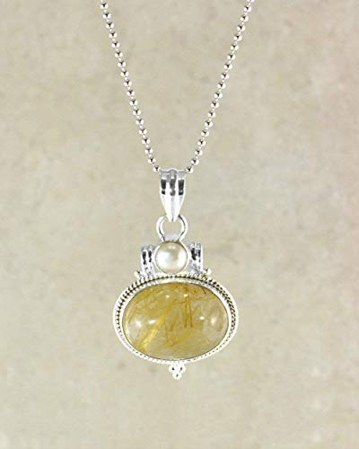 (SIVALYA Golden Rutile Quartz Pendant Necklace in 925 Sterling Silver - Great Gift for Her )