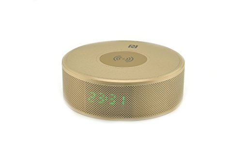 ZYJ-AWASA Bedside Multi-Function Qi Wireless Charger Bluetooth Speaker with Built in Mic, NFCTime Display, Alarm Clock for iPhone X Samsung Galaxy Note 8 S8 (Gold)