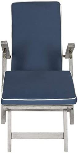 Safavieh Outdoor Collection Palmdale Lounge Chair, Grey and Navy