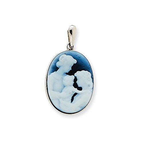 14k White Gold Three Generations Agate Cameo Pendant by Core Gold