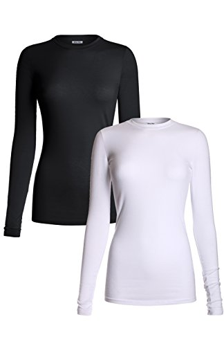 MedPro Women's Medical Scrub Solid Long Sleeve Undershirt Multi Pack ASTD:White,Black - Long Scrub Sleeve Tops