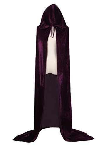 Joygown Hooded Cloak Long Velvet Cape for Christmas Halloween Cosplay Costumes Purple 130cm ()