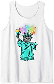 Cat Fireworks Statue Of Liberty s 4th Of July Gifts Tank Top T-shirt | Size S - 5XL
