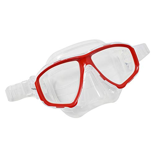 Scuba Clear/Red Dive Mask FARSIGHTED Prescription RX 1/3 Optical Lenses (Different Each Eye)
