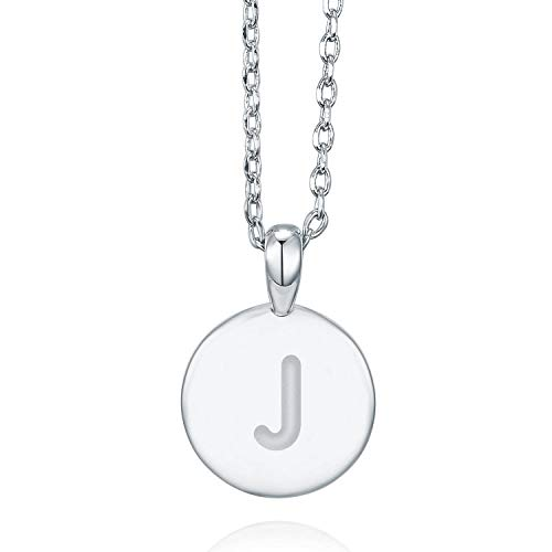 PAVOI 14K White Gold Plated Letter Necklace for Women | Gold Initial Necklace for Girls | Letter J ()