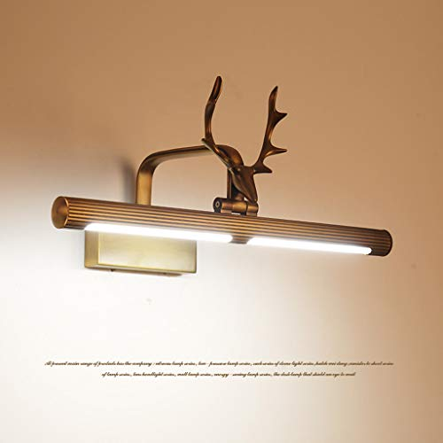 Mbd Copper Deer Head Mirror Front Light Bathroom Mirror Wall Lamp Waterproof Spotlight Lighting (Size : 84.5cm) by Mbd (Image #2)