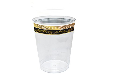 Posh Setting Royal Collection Clear Plastic 10 oz. Tumblers (cups) with Gold/Black Design 40 Pack
