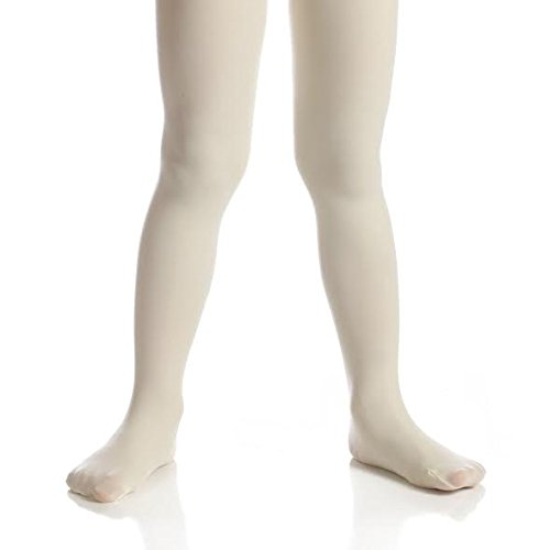 Top Fit Socks Girls' Microfiber Tights: Opaque Solid Seemless Footed Leggings-Ivory, Size 6-8, 1 Pack