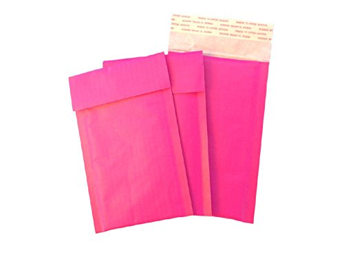 25 4x8 EXCLUSIVE DESIGN! HOT PINK Kraft Bubble Mailers Standard Mailer SIZE #000