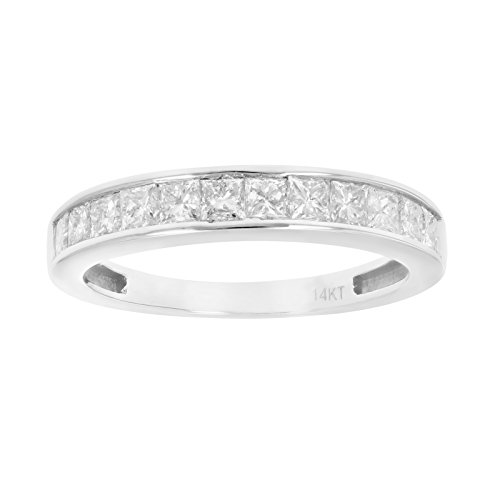 1 CT Princess Diamond Wedding Band in 14K White Gold Size 8 (Band Diamond Princess Cut)