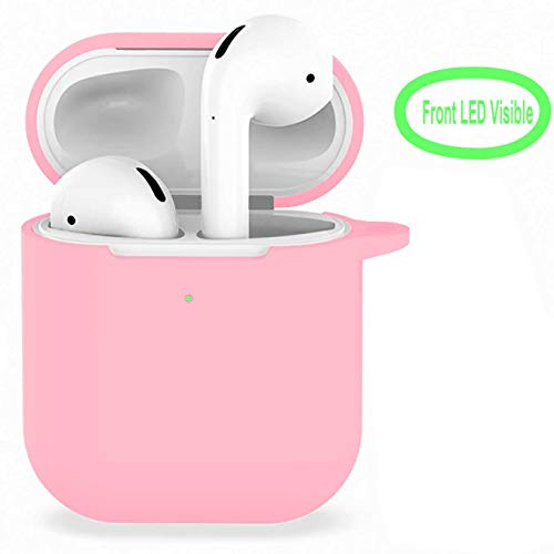 Compatible with Airpods 2 Wireless Charging Case, AirPods Accessories Shockproof Case Cover Portable & Protective Silicone Skin Cover Case (Front LED Visible)-Pink (Wazowski 4 Iphone Case Mike)