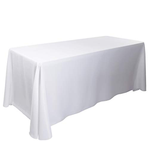 E-TEX 90 x 156-Inch Oblong Tablecloth, 100% Polyester Washable Table Cloth with Round Corner for 8Ft. Rectangle Table, White (Table White Cover 8')