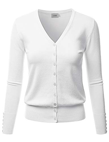 LALABEE Women's V-Neck Long Sleeve Button Down Sweater Cardigan Soft Knit-White-L