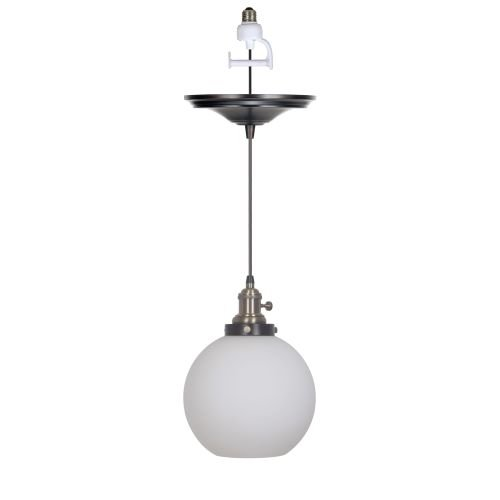 [Worth Home Products Instant Screw In Pendant Light with Milky White Glass Globe Shade] (Milky White Glass Shade)