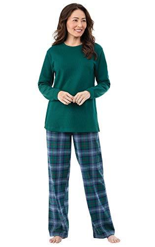 PajamaGram Womens Pajamas Soft Flannel - Plaid PJs Women, Green, 1X, 16-18 (Woman With Big Legs On This Morning)